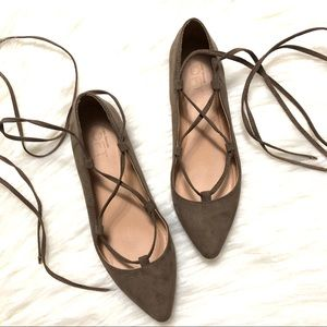 Ann Taylor loft lace up pointed toe flats